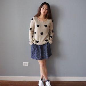Lauren Conrad Brown Glitter Black Hearts Sweater